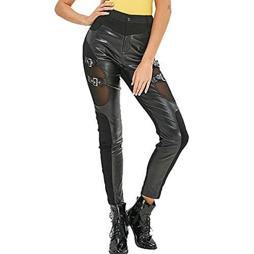 Komise Fashion Damen Netzstrümpfe Schnürung Lederhosen Dünne Gothic Punk Leggings (XL, Schwarz)