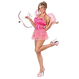 Ladies Sexy Cupid Valentines Day Fancy Dress Costume Outfit with Bow & Arrow (UK 12-14) Pink