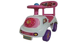 Allkindathings Push Along Smart Ride On - Coche de Juguete con diseño de Coche para niños, Color Blanco, Rosa y Morado