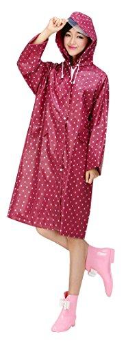 Ouvin - Abrigo impermeable - para mujer, Mujer, color rosso, tamaño Talla única