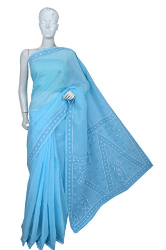 ADA Women's Cotton Hand Embroidered Lucknow Chikan Saree With Blouse Piece (A221571_Blue)
