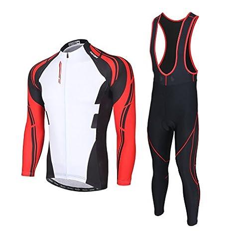 SKYSPER Maillot de Cyclisme Set Maillot de Manches Longues + Pantalons Homme en Automne/Hiver/Printemps Thermique Hiver coupe-vent de Cyclisme Vêtements