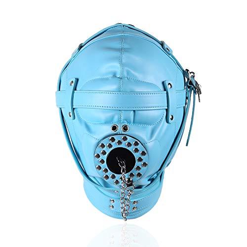CLII Blaue Leder gebundene Gimp-Maske, Halloween-Kopfschmuck mit vollständigem Lederüberzug - Anpassung des Riemens,Blue