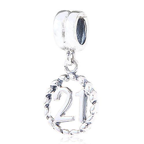 Abalorio de plata de ley con numero de la suerte para pulsera Pandora, diseno de 18 cumpleanos 21