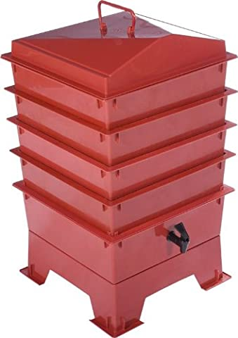 4 Tray Tiger Wormery: Easy Access Composter, includes Worms, Terracotta Red