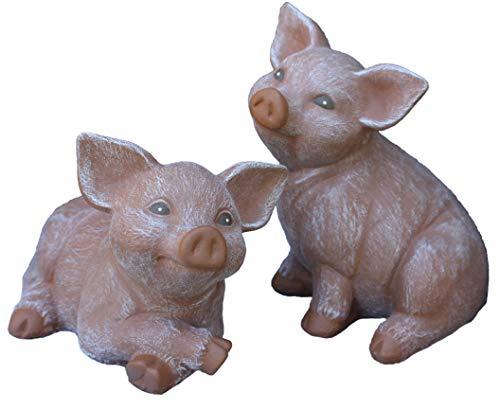 Steinfigur Schwein 2er Set, Ferkel, Gartenfigur Steinguss Tierfigur Terrakotta Patina