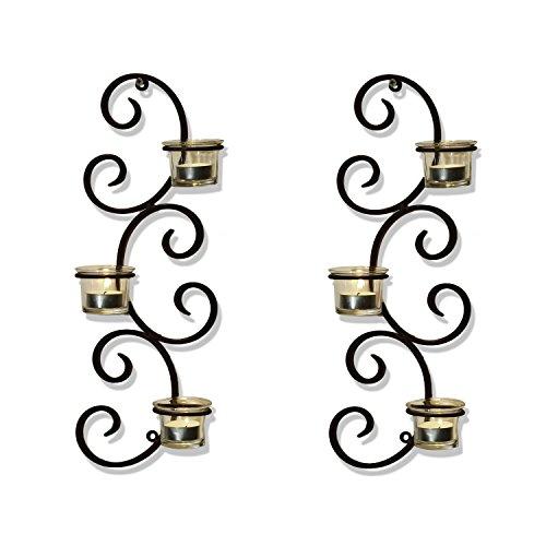 framearmy braun Eisen senkrechte Wand aufhängen Akzente Kerzenhalter Wandleuchte (Set von 2) - Akzent Wandleuchte
