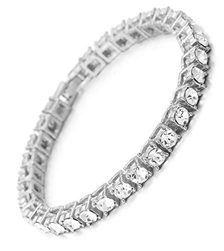 Halukakah  Bling  Uomo Platino Placcato Diamante Quadrato Grande Catena di Scatole Braccialetto 8'(20cm) con Pacco Regalo Gratuita