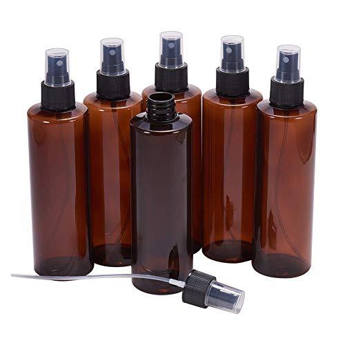 BENECREAT 6 PCS 250ml (8.54 OZ) Flacone Spray in plastica Vuoto, può Essere Riempito con Una Pompa di Nebbia fine per Oli Essenziali, Bellezza biologici e aromaterapia (Colore della Bottiglia: Ambra)