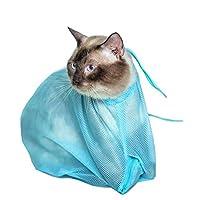 حقيبة غسيل للقطط قابلة للتعديل ومتعددة الوظائف - حقيبة شبكية لتقليم اظافر الحيوانات الاليفة والقطط وتنظيف اذانها بتصميم متين لون ازرق