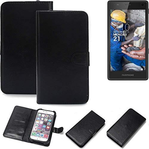 K-S-Trade® Wallet Case Handyhülle Für Fairphone Fairphone 2 Schutz Hülle Smartphone Flip Cover Flipstyle Tasche Schutzhülle Flipcover Slim Bumper Schwarz, 1x