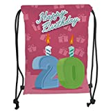Drawstring Backpacks Bags,20th Birthday Decorations,Birthday Party Theme Lettering on Pink Backdrop,Fern Green and Baby Blue Soft Satin,5 Liter Capacity,Adjustable String Closure,T