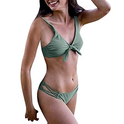 Yvelands Damen Bikini Set Solide Push-Up Gepolsterter BH Strand Bikini Set Badeanzug Bademode