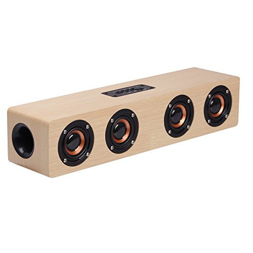 CAHAYA Bluetooth Lautsprecher 12W Stereo Soundbar unterstützt TF Karte/FM Radio/Aux Input eingebaut in Mic für PC und TV-Gerät - Gelb Suchen In 6 Sprachen