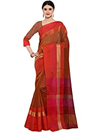 AppleCreation Women's Silk Saree With Blouse Piece (Linen Silk Sarees_Lnn119_Brown)