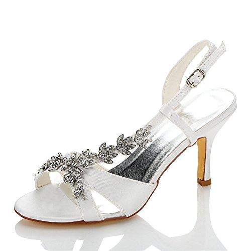 Jia jia scarpe da sposa da donna 1415a open toe mid heel sandali satinati strass scarpe da sposa colore bianco, taglia 41 eu