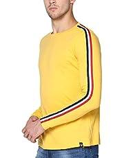 Urbano Fashion Men's Yellow Side Striped Full Sleeve Cotton