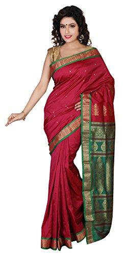 Aruna Fashions Self Design Paithani Gatti 3D Art Silk Saree( Crimson color saree with Green color blouse piece)  available at amazon for Rs.999