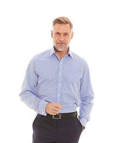 Savile Row Men's Blue Bengal Stripe Classic Fit Shirt - Double Cuff 15