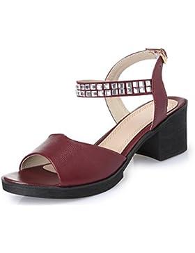 Ronda de las sandalias con sandalias y zapatillas de diamantes de imitación de verano femenina , black , US7.5...