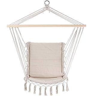 Detex Silla Colgante Color Crema o Gris de 55 x 100 cm Hamaca con cojin Incluido para Interior y Exterior decoración Cuerdas