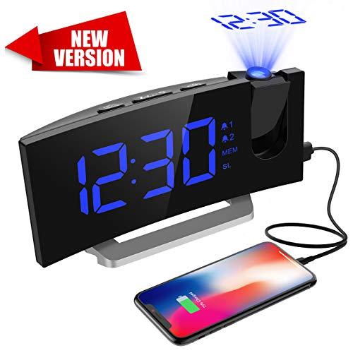 Projektionswecker, Mpow FM Radiowecker mit Projektion, 5\'\' LED-Anzeige, digitaler Wecker, Reisewecker, Tischuhr, Dual-Alarm, 6 Helligkeit, 4 Alarmtöne mit 3 Lautstärke, 9 \' Snooze,120° Dreh-Projektor.