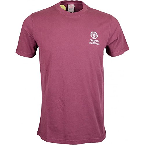 Franklin-Marshall-MF350-Jersey-Round-Neck-Crest-Logo-Vintage-Port-T-Shirt