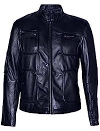 Smart Range Men's 'STAR TREK' BLACK Biker Style Motorcycle Soft Real Nappa Leather Jacket