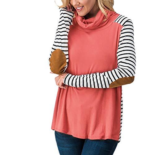Mymyguoe Frauen Sweatshirt Casual Streifen Print Patchwork Rollkragen Langarm Tops Bluse Langarmshirt Oversized Kapuzenpullover Mantel Outwear Winterpullover Lose Tunika Top