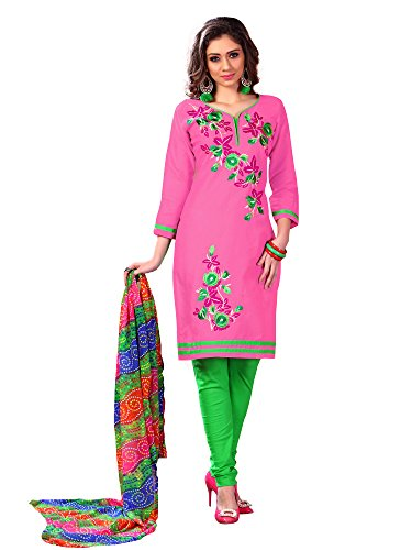 Oomph! Women's Cotton Unstitched Embroidered Salwar Suit Dupatta Dress Material, Pink