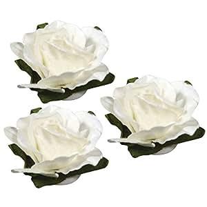 Tête de Rose blanche 15 mm en papier, Lot de 15 pièces