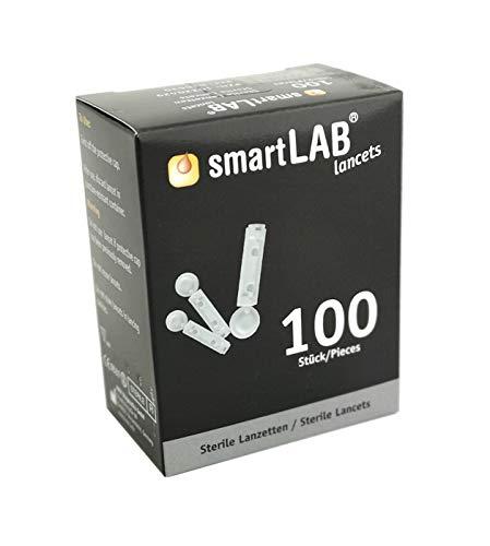 smartLAB Lancet Box mit 100 Lanzetten in einem Box | Blutzucker Lanzetten 28G Strile. kompatibel u.a. zu Stechhilfe von Beurer, Medisana, SD