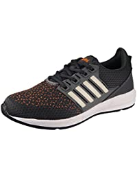 Action Shoes Synergy Men's Black And White Mesh And PU Sports Shoes