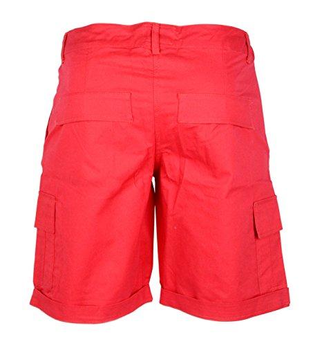 Femmes Coton Combat Toile Chino Cargaison Shorts Taille 6 8 10 12 14 16 Rouge