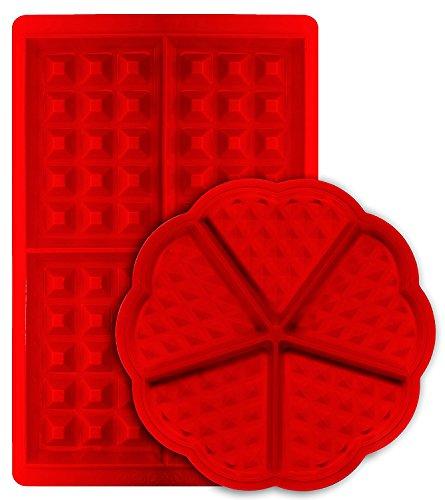 Waffelform 2 Stück Set - Herz und belgische Rechteckform Antihaftbeschichtung Silikon Waffel Kuchen / Mini-Backblech Formen - Set von 2 - Silikon-form Waffel