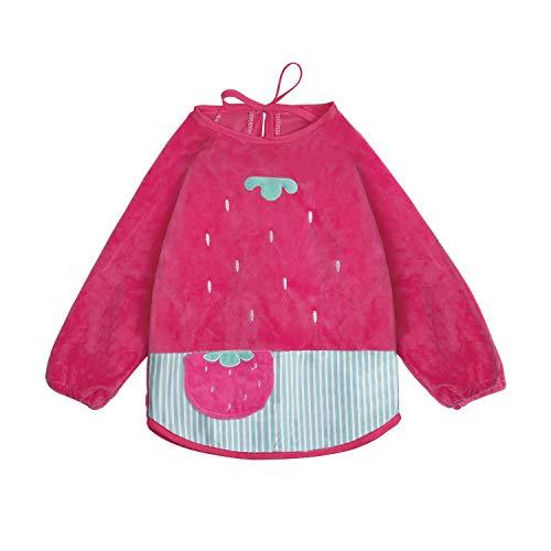 Ärmellätzchen wasserdicht Stickmotiv lätzchen mit ärmeln Velours armellatzchen abwaschbar - Essen und Play Smock Schürze für Kleinkinder für 6-36 Monate Baby Kinder von FUTURE FOUNDER - Rosa Erdbeere -