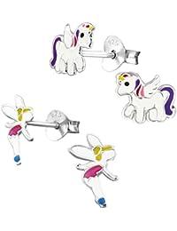 2 Paar Kinder Ohrringe 925 Silber Mädchen Ohrstecker Einhorn Pferd und Elfe Fee