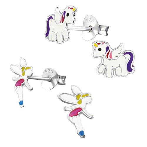 2 Paar Kinder Ohrringe 925 Silber Mädchen Ohrstecker Einhorn Pferd und Elfe Fee (Silber-ohrringe Mädchen Für)