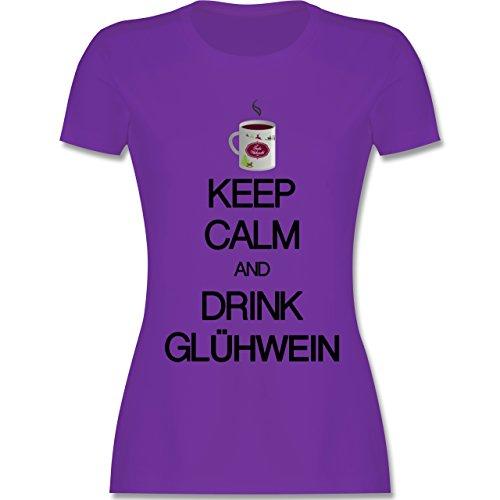 Keep calm Keep calm and drink Glühwein tailliertes Premium TShirt mit  Rundhalsausschnitt für Damen Lila