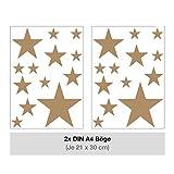 STERNEN SET Kinderzimmer Wandsticker 26 Stück Sterne Sternenhimmel zum Kleben Wandtattoo Wandaufkleber Sticker Wanddeko (Hellbraun)