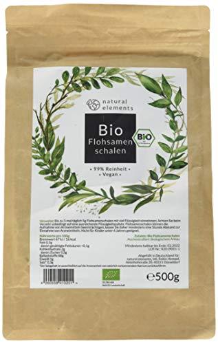 Bio Flohsamenschalen - Premium Qualität: Laborgeprüft, 99+{475b702fe2b2df64c2e4abbe3996fd5caa8e709a3f427bd421842afca074a965} Reinheit, zertifiziert Bio. Vegan. Low-Carb. Ballaststoffreich. Glutenfrei. Ohne Zusätze. Nachhaltig angebaut - 500g Beutel