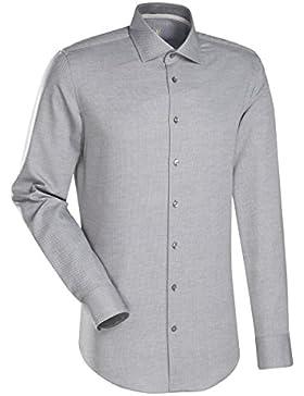JACQUES BRITT Business Hemd Custom Fit 1/1-Arm Bügelleicht Uni / Uniähnlich City-Hemd Hai-Kragen Manschette weitenverstellbar