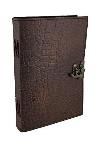 Braun Python geprägtes Leder Journal 17,8x 25,4cm. (Leder Python-geprägte)