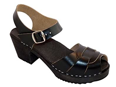 Swedish Clogs : Peep Toe Clogs in Black Leather with Black Sole