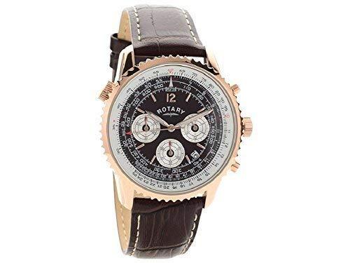 Tachymeter für Herren von Rotary, braunes Ziffernblatt, analog, Quarz, braunes Lederarmband, Armbanduhr, GS00678/16