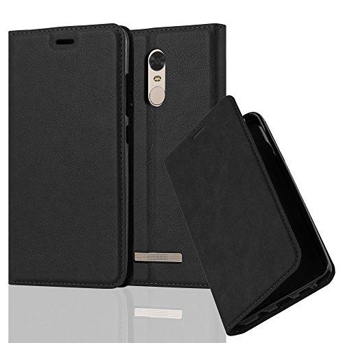 Cadorabo Hülle für Xiaomi RedMi Note 3 - Hülle in Nacht SCHWARZ – Handyhülle mit Magnetverschluss, Standfunktion und Kartenfach - Case Cover Schutzhülle Etui Tasche Book Klapp Style