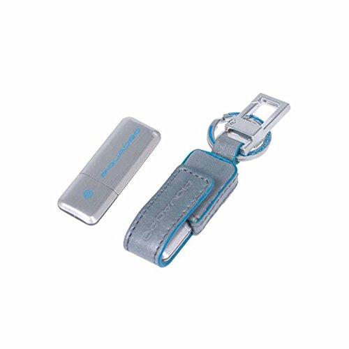 Piquadro blue square chiavetta usb da 8gb di memoria con custodia in pelle, grigio - ac3439b21/gr