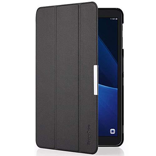 EasyAcc Hülle kompatibel für Samsung Galaxy Tab A 10.1 T580/ T585, Hochwertiges PU Leder Case Schutzhülle - mit Automatischem Schlaf Funktion & Standfunktion (Schwarz, Ultra Dünn)