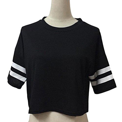 Reaso Femmes Hauts, Été Manche courte Décontractée Bande Petit T-shirt Noir