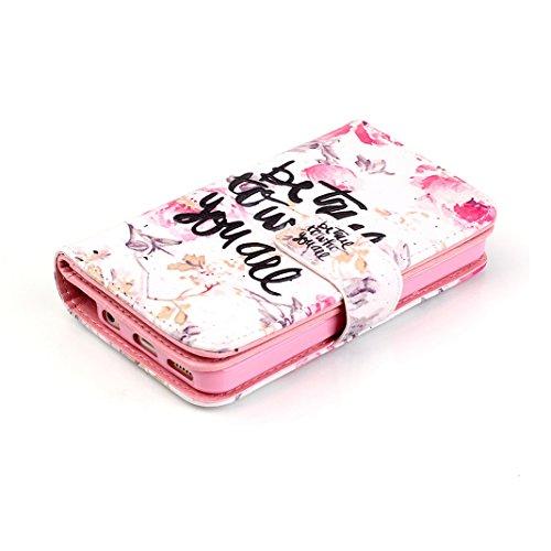 OuDu Housse iPhone 5C Etui de Portefeuille avec Fente pour Carte pour iPhone 5C Coque Flexible Doux Flip Leather Wallet Case Cover Bumper Etui Pochette en PU Cuir Coquille Mince Léger Couverture Anti  Qui es-tu